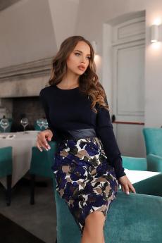Темно-синее платье с кожаной вставкой Open-Style