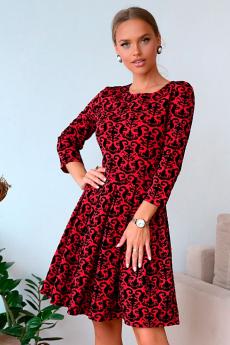 Красное жаккардовое платье Open-Style